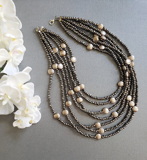 Silver Beads with Delicate Light Pink Beaded Necklace