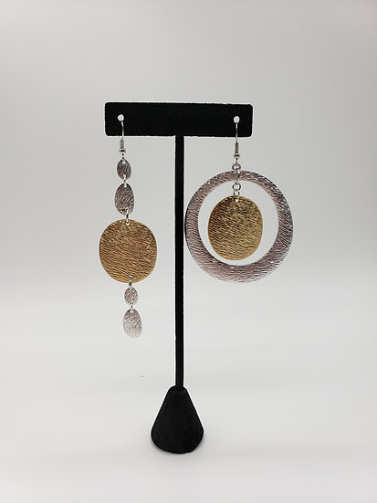 Gold and Silver Miss-matched Style Earrings