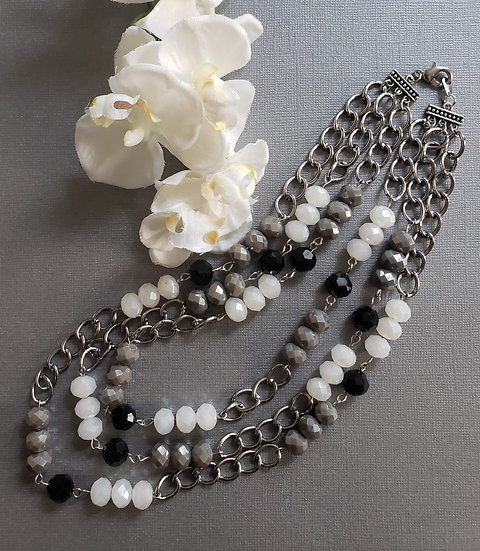 Black, Grey, and White with Silver Chain 3 Tier Necklace