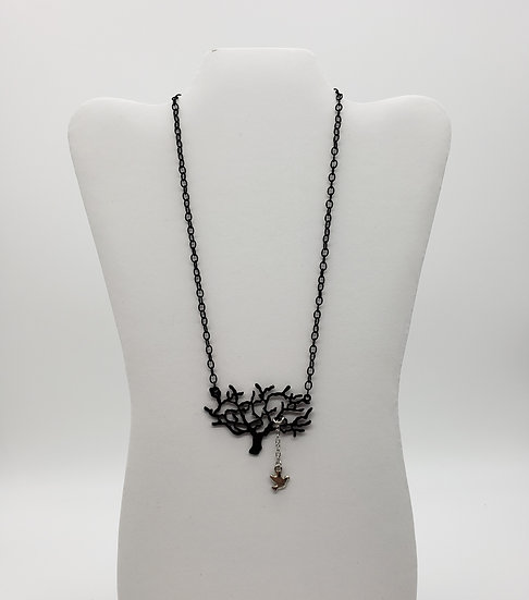 Tree of Life Pendant w/ Little Silver Bird & Black Chain Necklace