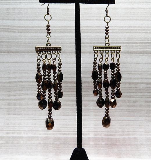 Iridescent Brown Glass Beaded Chandelier Earrings