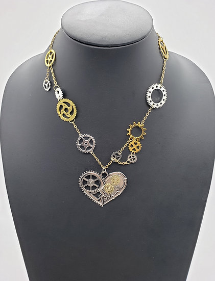 Gold and Silver Heart Accented w/ a Hint of Steampunk Gears