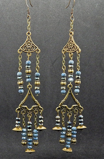 Antique Gold and Baby Powder Blue 2 Tiered Chandelier Earrings