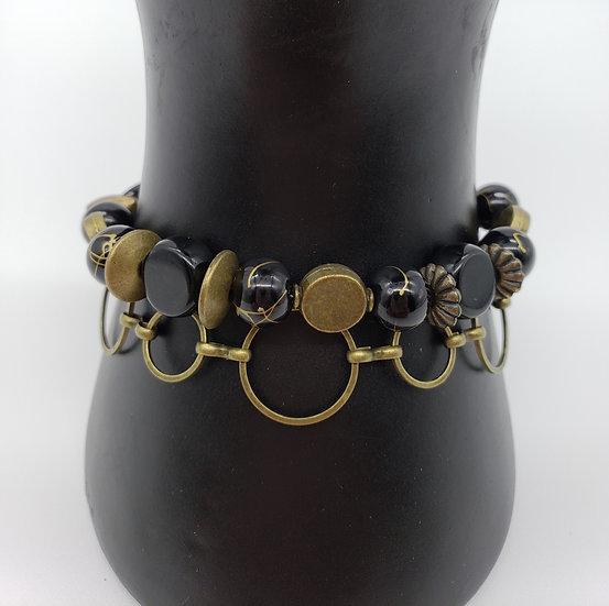 Black and Antique Gold 2 Strand Bracelet