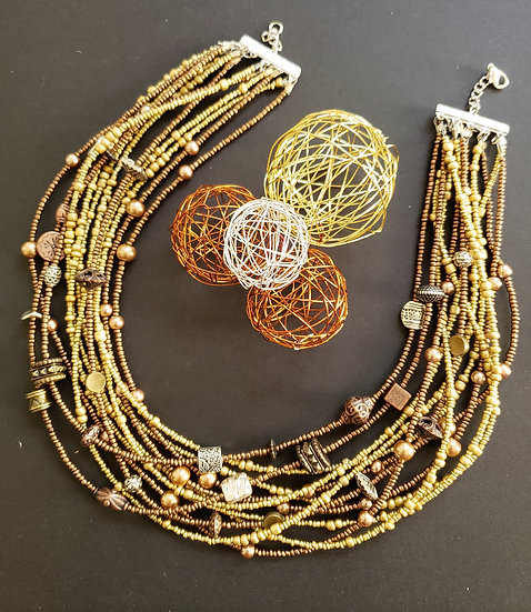 Gold and Antique Copper 10 Tier Necklace