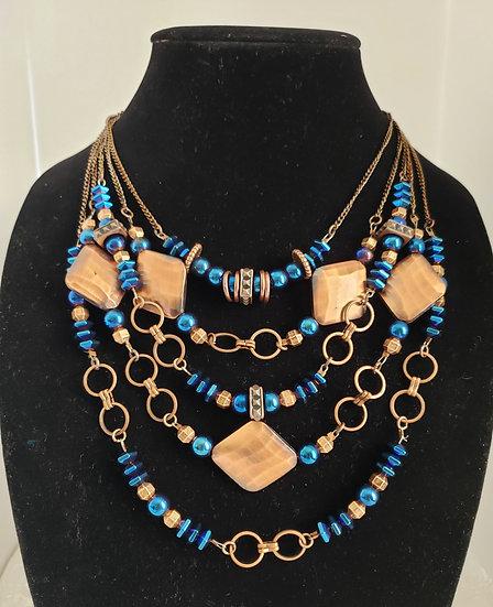Blue and Antique Copper 5 Tier Necklace