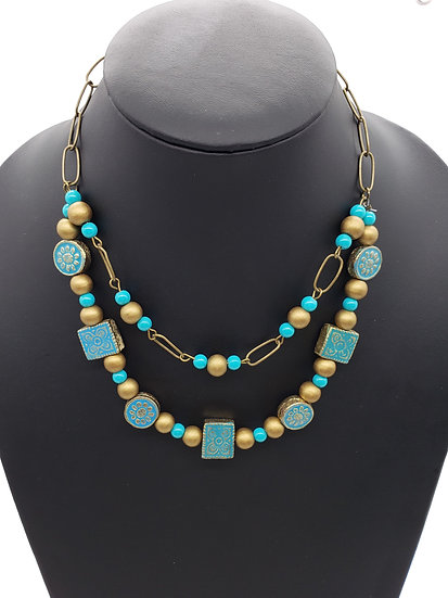 Turquiose Blue w/ Gold Detailed on Beads and Gold Accents 2 Strand Necklace