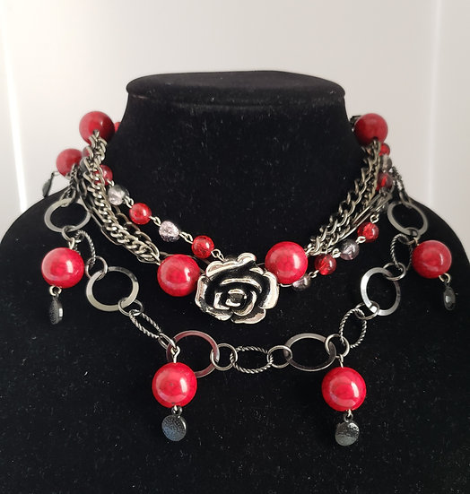 Red and Silver Flower Choker