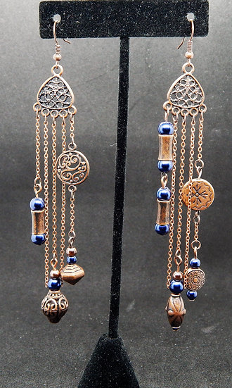 Antique Copper and Blue Miss-Matched Earrings