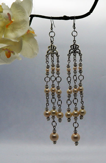 Silver and Champagne Pearl Dangle Earrings
