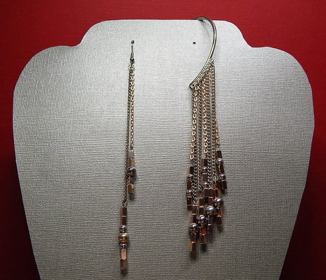 Rose Gold and Silver Earring Cuff and Matching Hooked Earring Set
