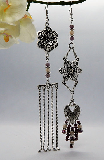 Asymmetrical Silver with Lavender Crystal Beaded Shoulder Duster Earring