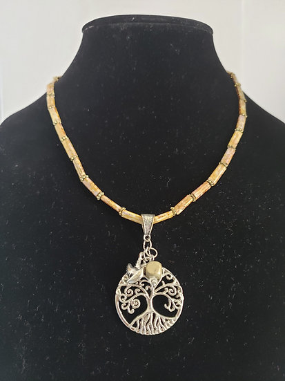 Silver Tree Pendant with Earth Toned Beaded Necklace