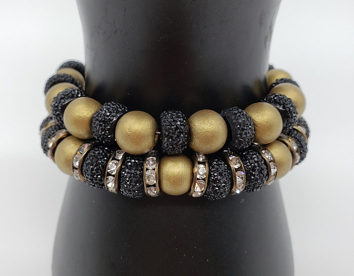 Black Sparkle Beads and Gold with Delicate Crystal Spacers - 2 Bracelet Set