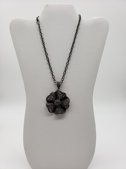 Gun Metal Silver Sparkle Flower Pendant and Chain Single Strand Necklace