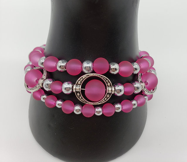Semitransparent Pretty Pink and Silver Accent 3 Strand Bracelet