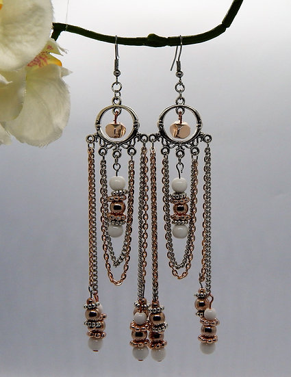 Rose Gold and Silver with White Beaded Chandelier Earrings