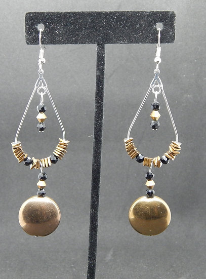 Antique Copper and Black Crystal Drop Earrings