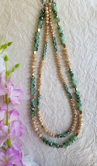 Rose Gold, Green, and Champagne Beaded 2 Tiered Necklace