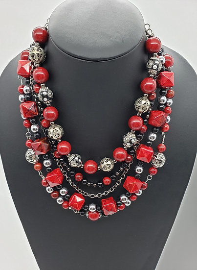Red, Black, and Silver 5 Strand Bold Statement Necklace