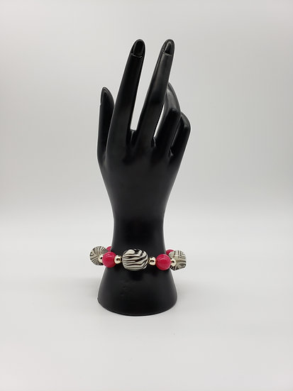 Zebra Print with Hot Pink and Silver Accent Beaded Bracelet