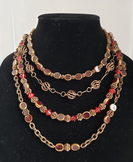 Ruby Red and Antique Copper 4 Tiered Necklace