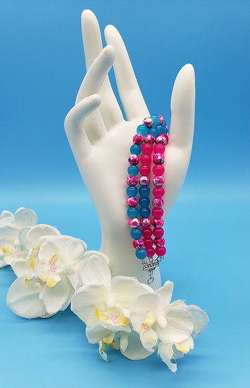 Eye Popping Pink and Aqua Blue with a Splash of Pizzazz 3 Strand Bracelet