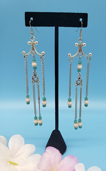 Turquoise Crystal and Silver Chandelier Earrings