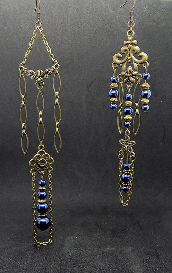 Antique Gold and Shimmering Blue Chandelier Earrings