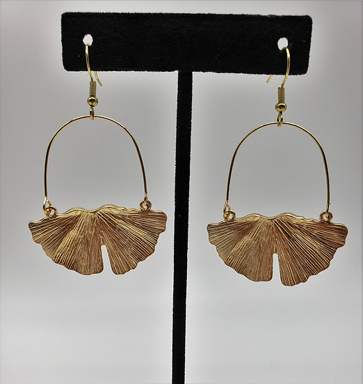 Gold Gingko Leaf Dangle Earrings