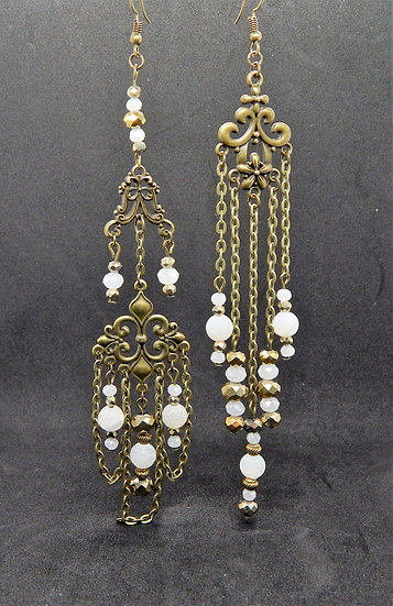 Asymmetrical Antique Gold and Transparent White Beaded Earrings