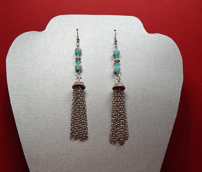 Turquoise and Silver Tassel Dangle Earrings
