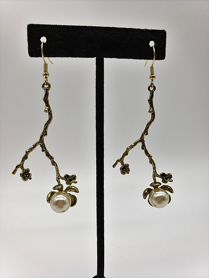 Gold Branch with a Pretty Little Flower with a Pear Inside Dangle Earrings
