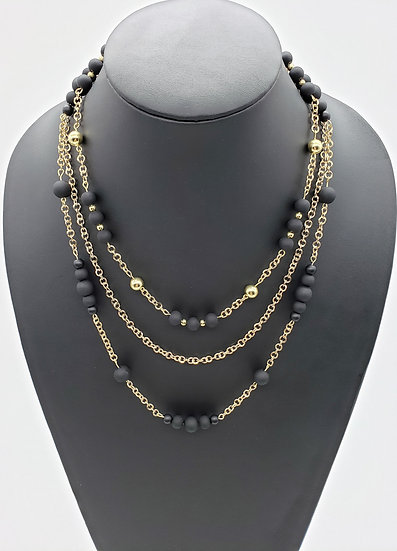 Black Beads with Gold Accents and Gold Chain 3 Strand Necklace