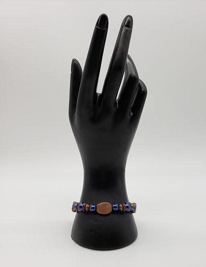 Pearlized Dark Blue with Antique Copper Accent Bracelet