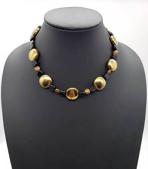 Dark Gold and Black Single Strand Necklace