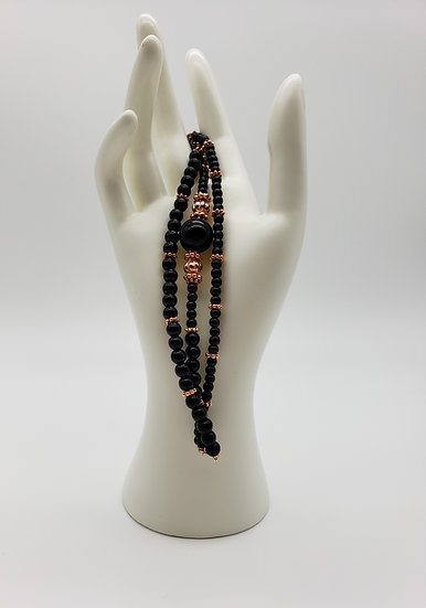 Black and Rose Gold (Such a Stunning Combination!!) 3 Strand Bracelet