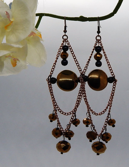 Antique Copper and Brown Champagne Beaded Earrings