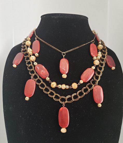 Antique Gold and Red 3 Tiered Necklace