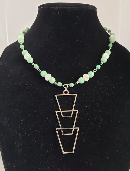 Silver and Mint Green Necklace