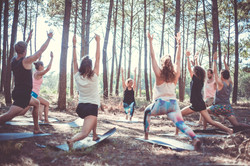 Yoga in the woods