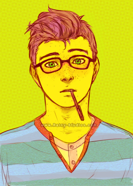 Sketch of Red head boy with glasses