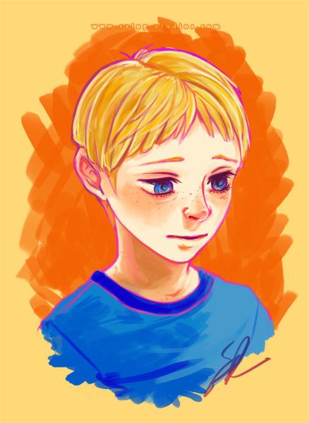 digital portrait of blonde boy