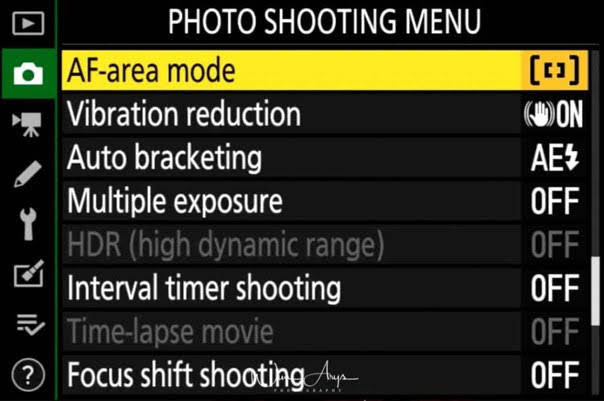 Photo Shooting Mode selection in Menu.jp