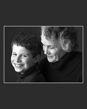 child and grandmother smiling