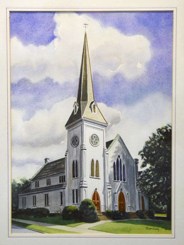 "Thom Ecay's first-place watercolor ""Church"""