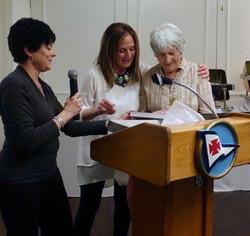 1 Julie and Eaine Awarding Rosmarie Nasr