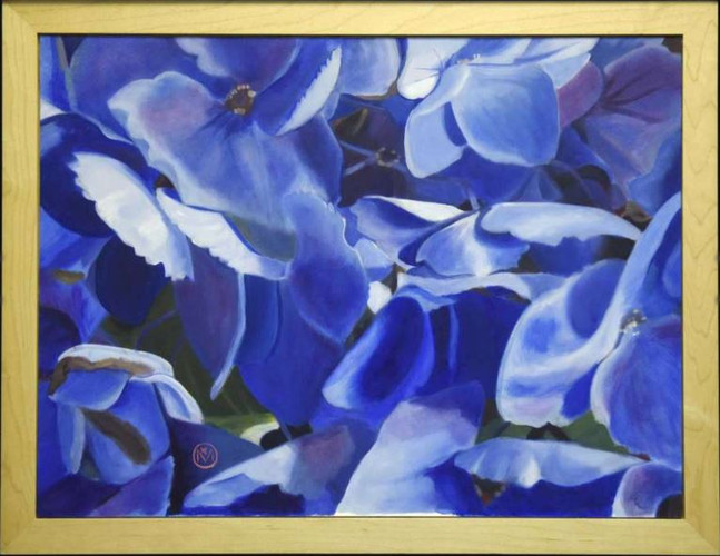 "Mariya Rivera's first-place oil painting ""Hydrangea Fandango"""