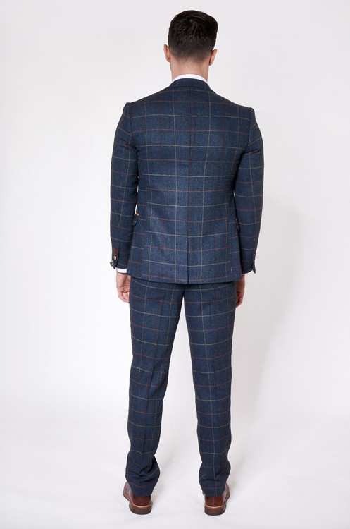 a9505f3b20af Breathe new life into your suit collection with this navy check three piece  suit. Finished in a wine and tan check with contrasting 2 colour trim  detail to ...