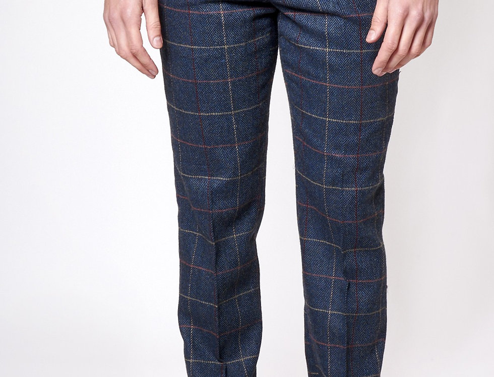 Marc Darcy - Eton - Navy Check Print Tweed Trousers
